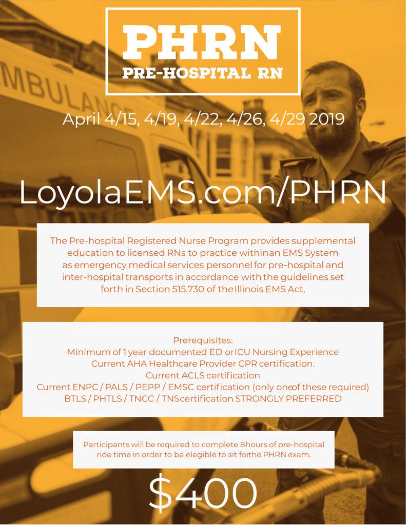 Phrn Pre Hospital Registered Nurse Loyola Ems